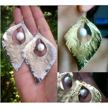 Large fluttering bronze leaf earrings with white mother of pearl