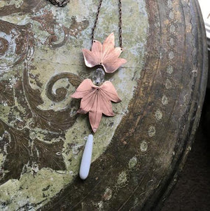 Double Lotus Blossom Necklace w/seaglass - Nora Catherine