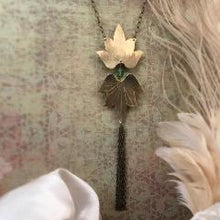 Double Lotus Blossom Necklace w Swaravski Tassel - Nora Catherine