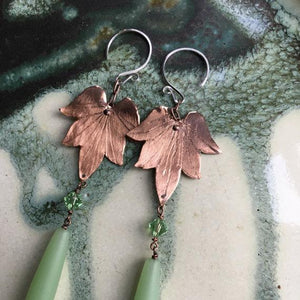 Lotus Blossom earrings w/sea glass drop and crystal (LG-SM) - Nora Catherine