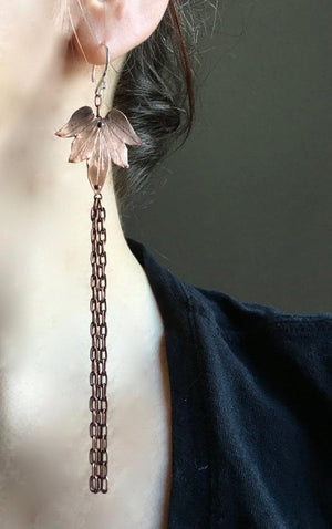 Lotus Blossom tassel earrings (LG-SM) - Nora Catherine