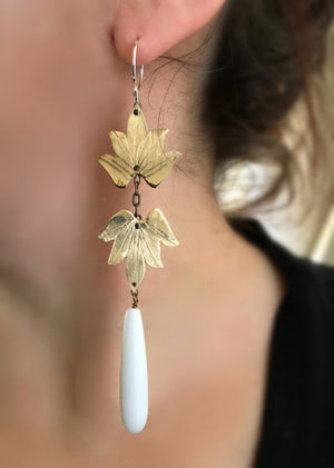 Double Lotus Blossom Earrings w/ seagrass drop - Nora Catherine