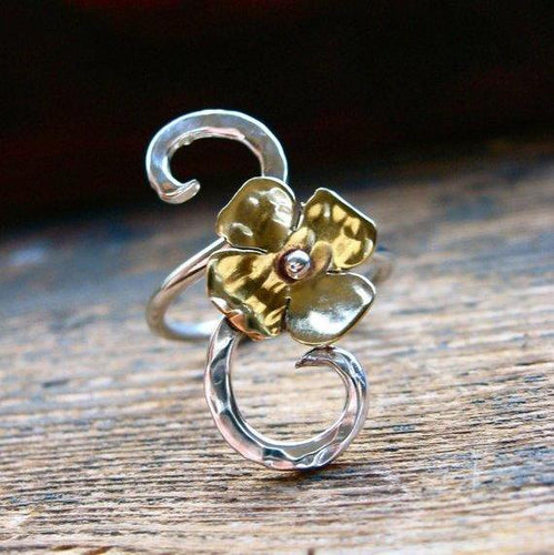 Teeny Tiny vine blossom ring - Nora Catherine