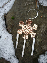 Ice and snow - copper and pearl snow flake earrings - Nora Catherine