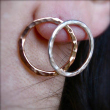 Sm hammered circle  post earrings in copper, bronze or sterling - Nora Catherine