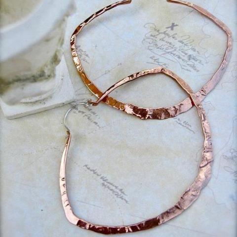 Lg light weight hoops in copper, bronze or sterling silver - Nora Catherine