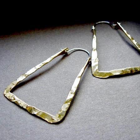 Md light weight rectangle hoops in copper, bronze or sterling silver - Nora Catherine