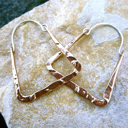 XS light weight rectangle hoops in copper, bronze or sterling silver - Nora Catherine