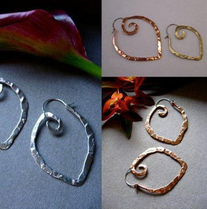Sm light weight point hoops in copper, bronze or sterling silver - Nora Catherine