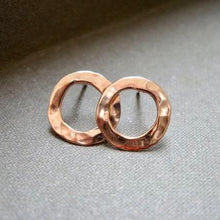 XS hammered circle  post earrings in copper, bronze or sterling - Nora Catherine