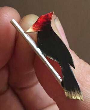 Woodpecker on Sterling Branch hat/lapel pin - Nora Catherine