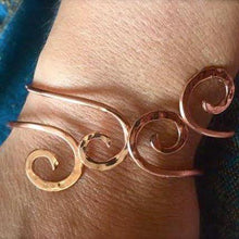 Ancient spiral double bangle in copper, bronze or sterling - adjustable - Nora Catherine