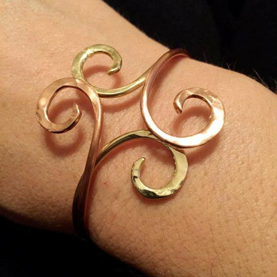 Ancient Spiral Double Bangle in copper, bronze or sterling - adjustable
