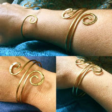 Ancient spiral double bangle in copper, bronze or sterling - Nora Catherine