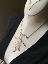 Copper branch on gunmetal necklace