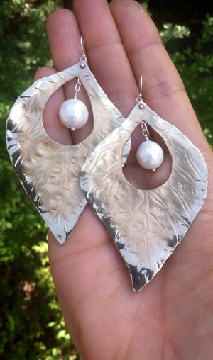 Fluttering Bronze Leaf statement earrings w/white mother of pearl - Nora Catherine