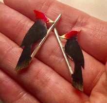 Woodpeckers on sterling branch post earrings - Nora Catherine