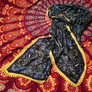 Royal Blue Paisley Scarf w/Bright Yellow Edge Trim - Nora Catherine