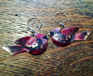 Flying Cardinal whimsical earrings - Nora Catherine