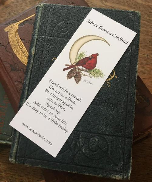 Cardinal Moon art bookmark - Four Seasons series