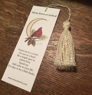 Cardinal Moon art bookmark - Four Seasons series - Nora Catherine