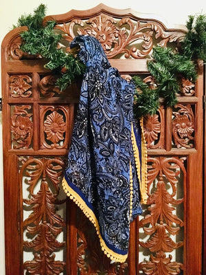 Royal blue paisly scarf with bright yellow edge trim - Nora Catherine