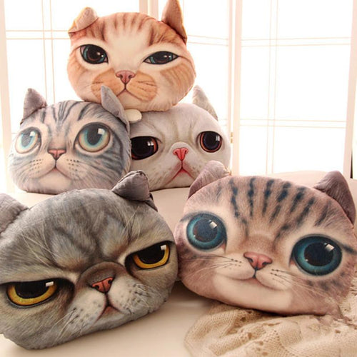 Funny Cat Face Cuddle Pillow for Cat Lover