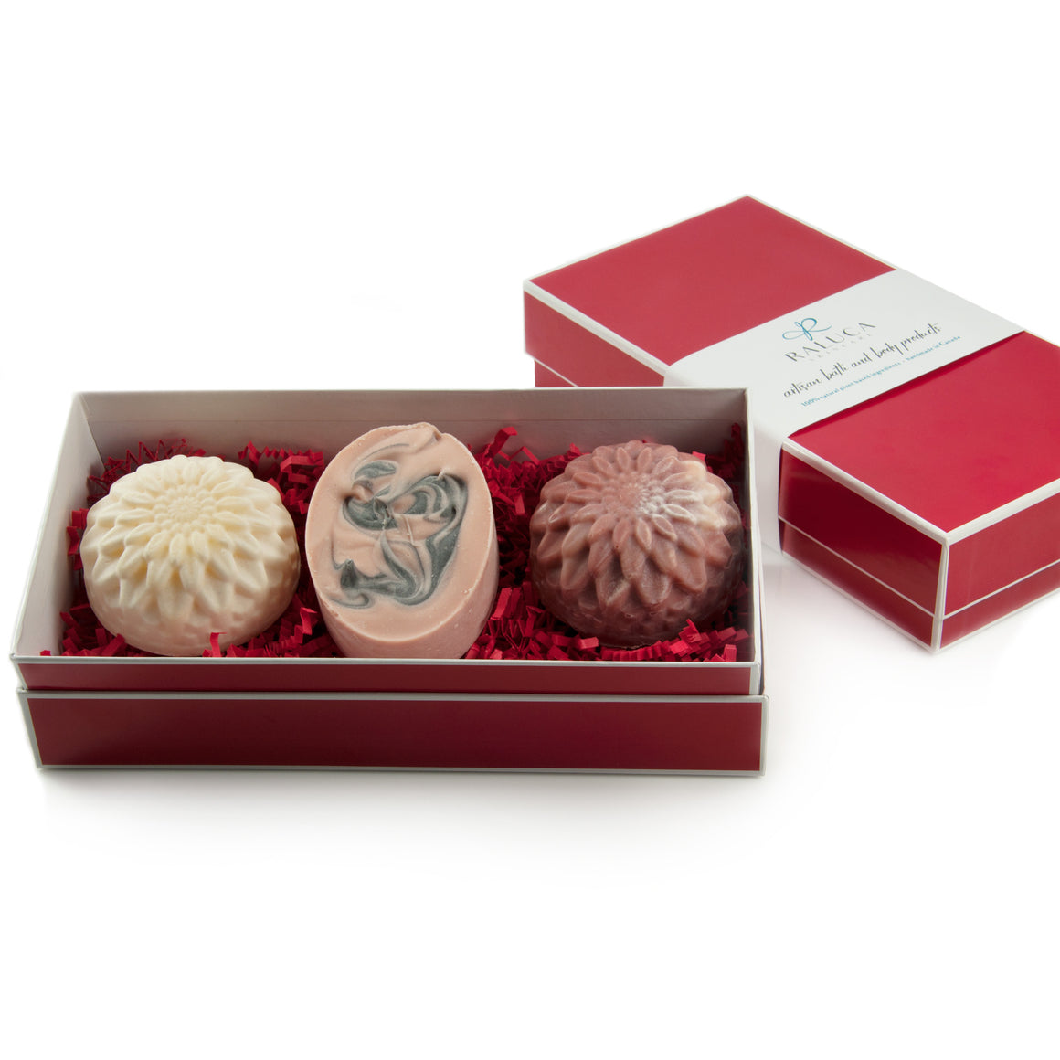 Raluca Skincare - Artisan soap set - pink and white flower shaped soaps