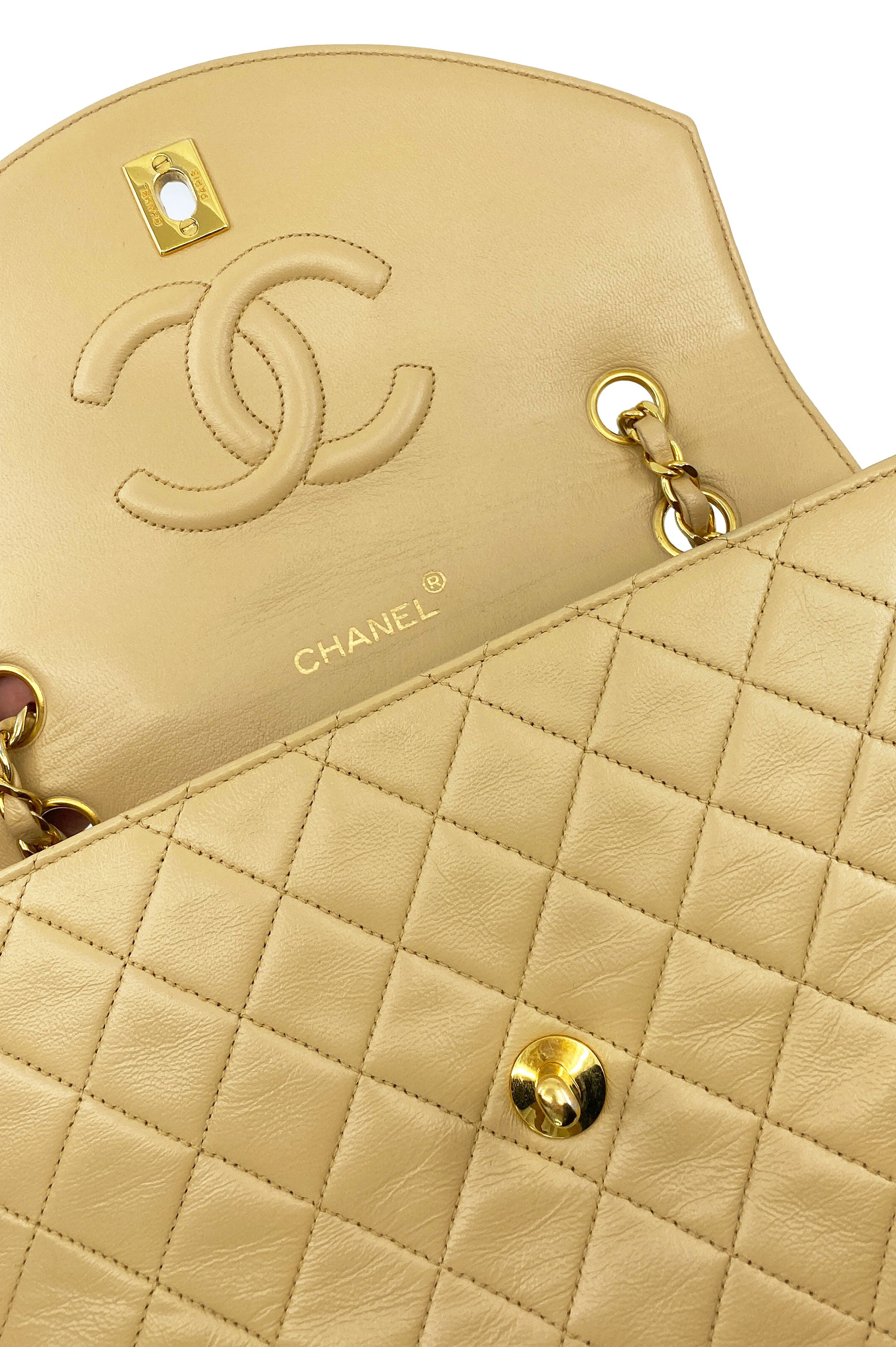 CHANEL Vintage Flap Bag Beige