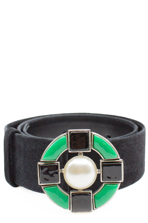 CHANEL Belt with Green Buckle Vintage Suede Leather Belt with Pearl