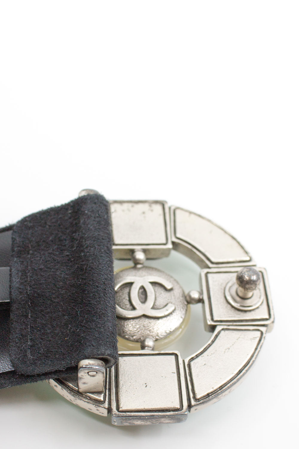 CHANEL Belt with Green Buckle