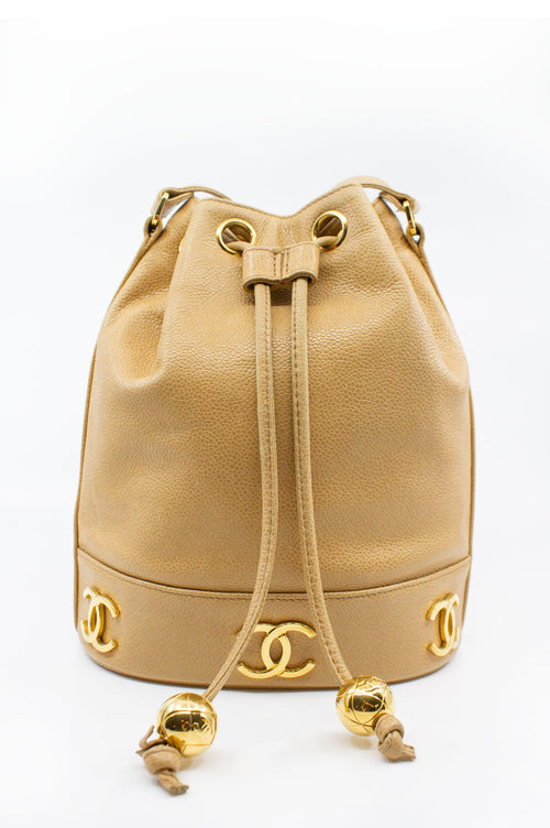 CHANEL Vingtage Bucket Bag Caviar Beige