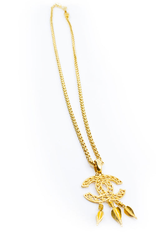 CHANEL CC Vintage Necklace Goldpated 3 Frontalansicht