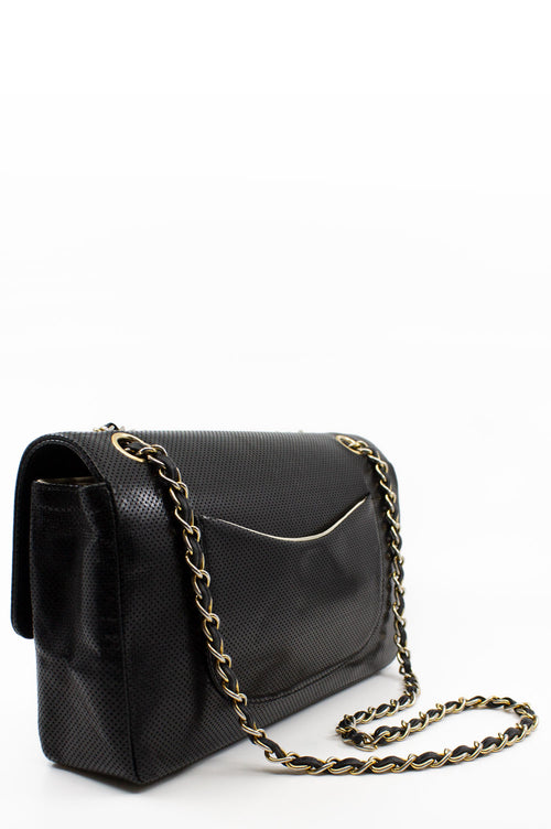 CHANEL Vintage Perforated Black Flap Bag
