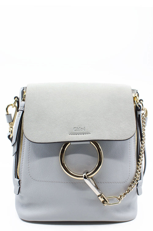 CHLOÉ Faye Backpack Airy Grey Frontansicht
