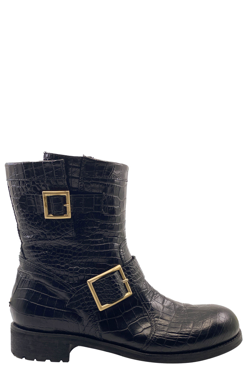 JIMMY CHOO Boots Croc Embossed Black Frontansicht