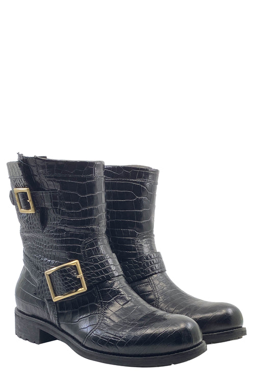 JIMMY CHOO Boots Croc Embossed Black