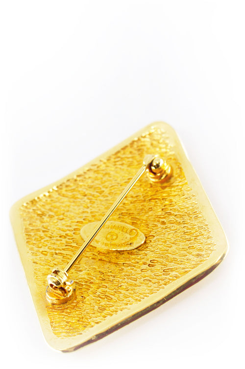 CHANEL Vintage Pin CC Raute Gold