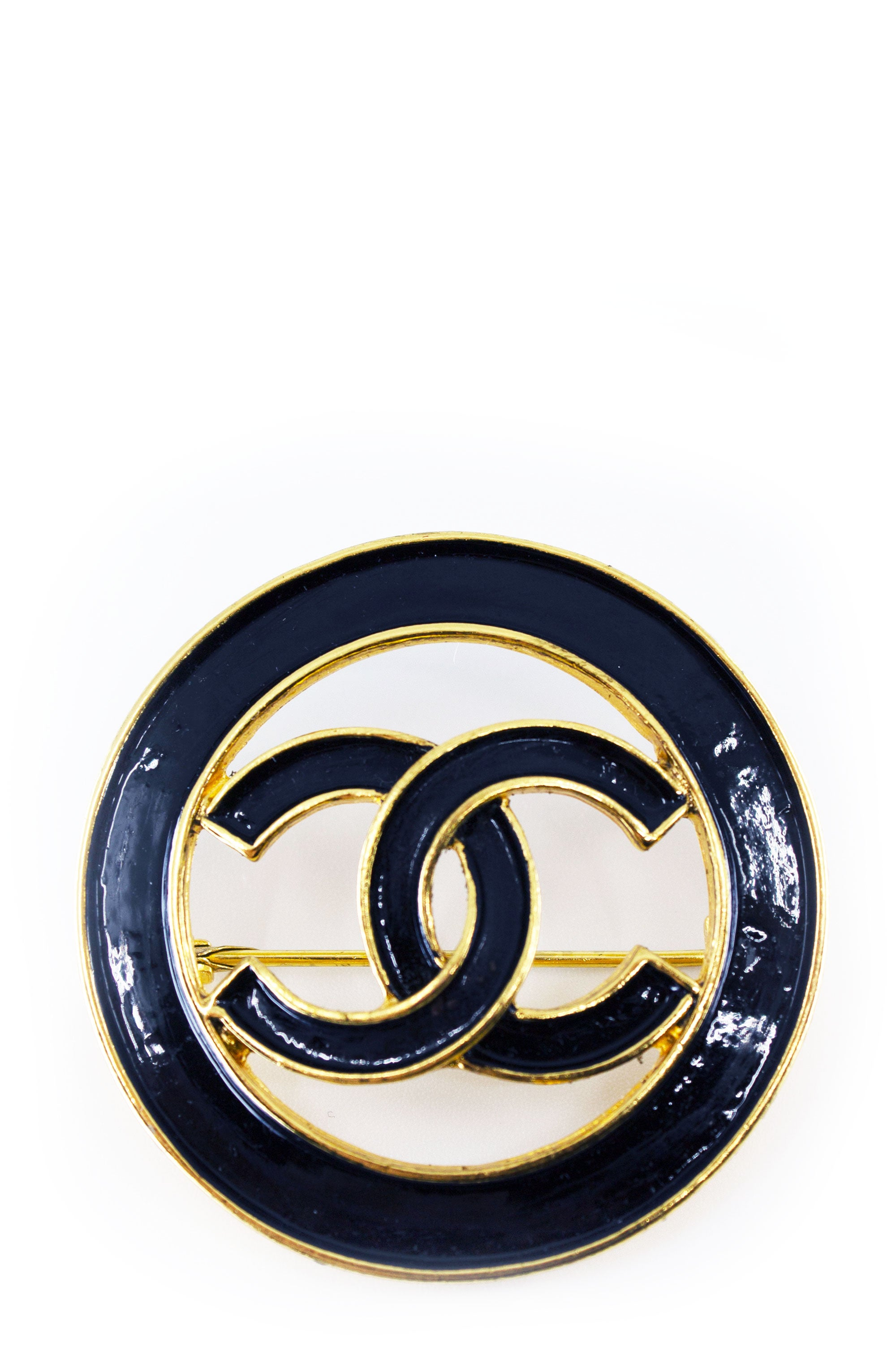CHANEL Vintage Pin CC Black and Gold