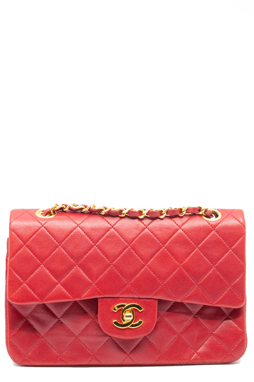 Chanel Double Flap Bag Small Rot Goldene Hardware Frontalansicht