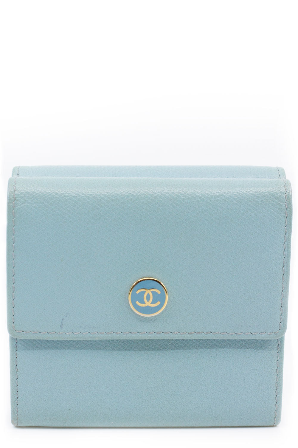 CHANEL Wallet Baby Blue Frontalansicht