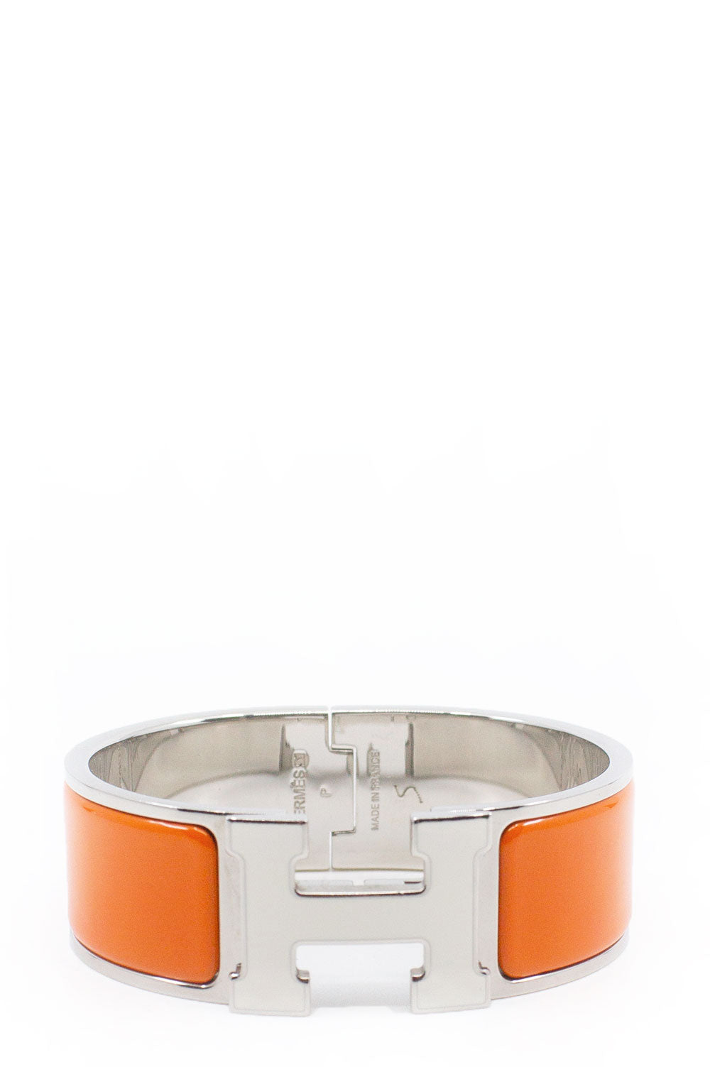 HERMÈS Clic H Medium Orange/Silver Frontalansicht