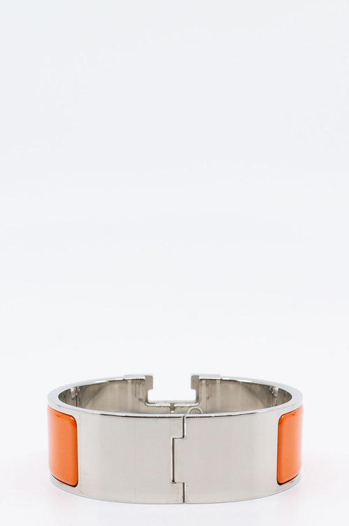 HERMÈS Clic H Medium Orange/Silver