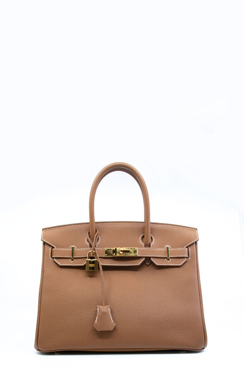 Hermès 30 Birkin Bag in gold togo leather.