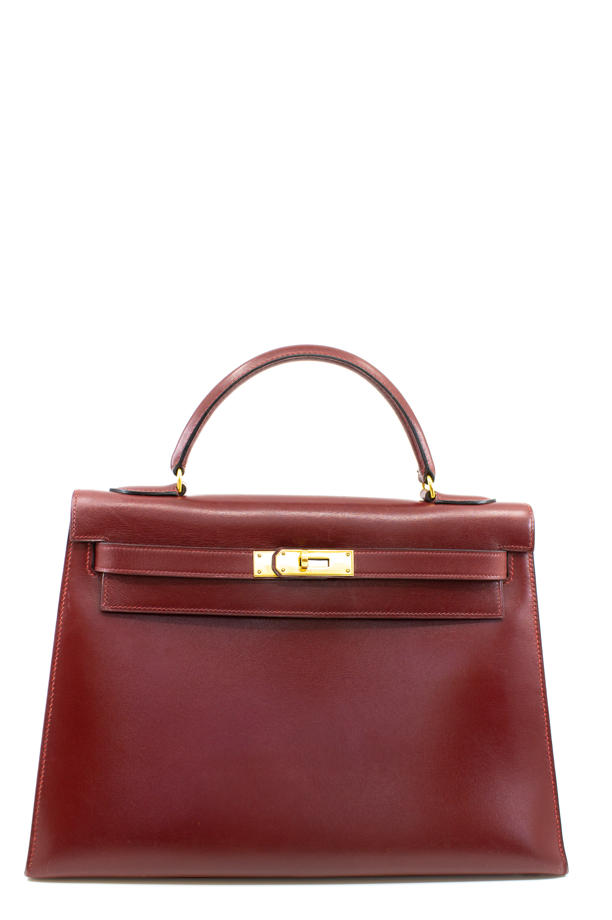 Hermès Kelly 32 Calf Leather Frontalansicht Bordeaux