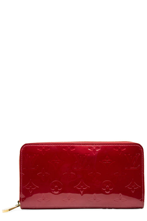 Louis Vuitton Vernis Red Zippy Wallet Frontalansicht Rot