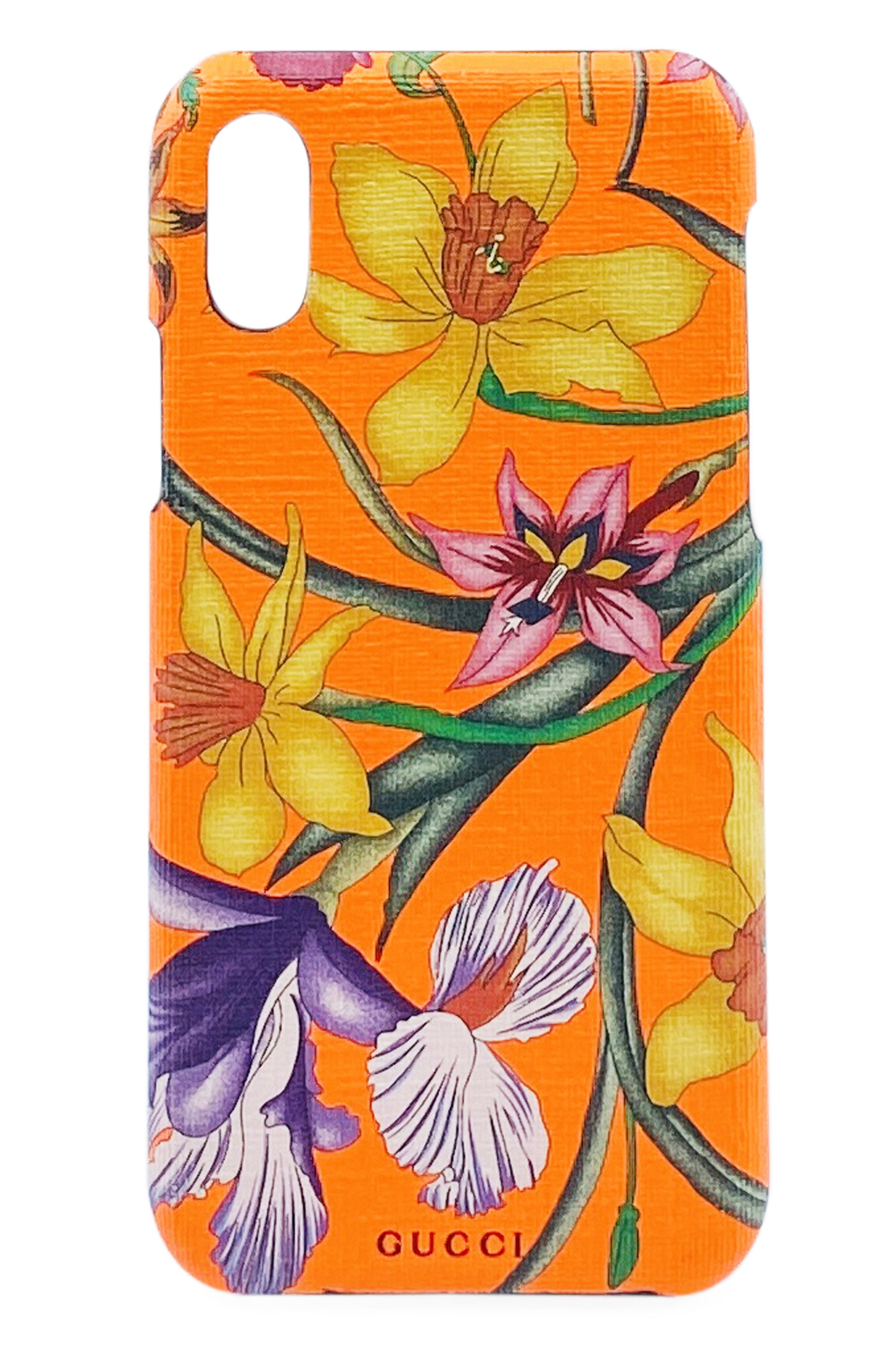 GUCCI iPhone Case X/XS Neon Orange mit Blütenprint Frontansicht