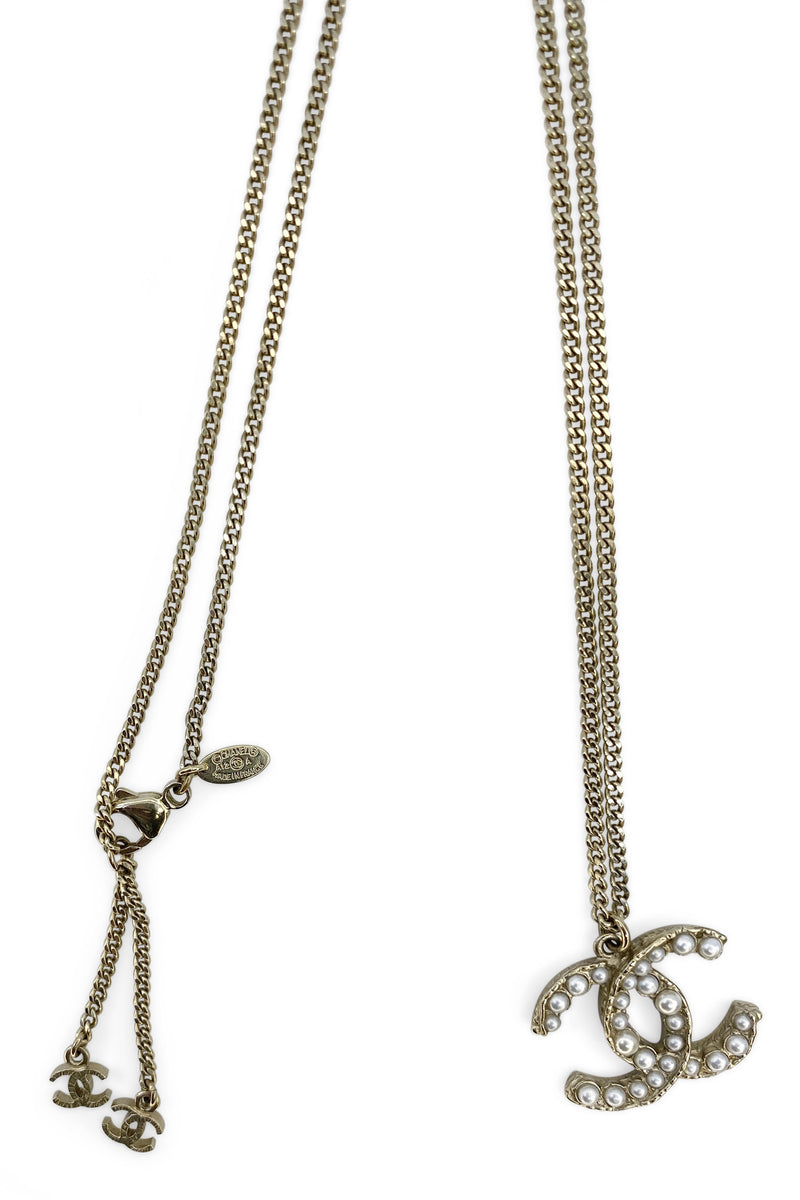CHANEL Pearl CC Necklace Gold