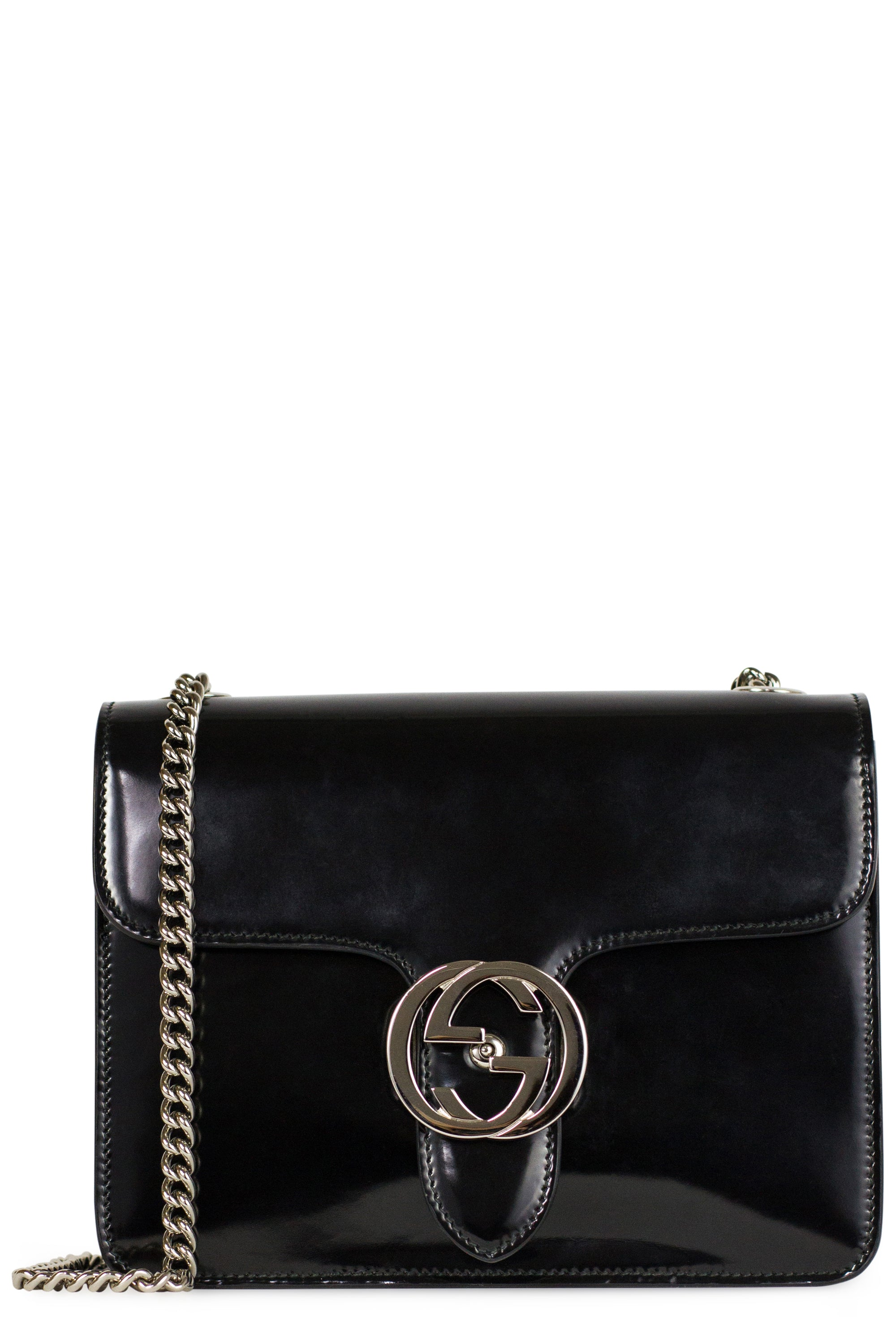 Gucci GG Interlocking Small Bag Silver Chain Black Patent Leather Frontansicht