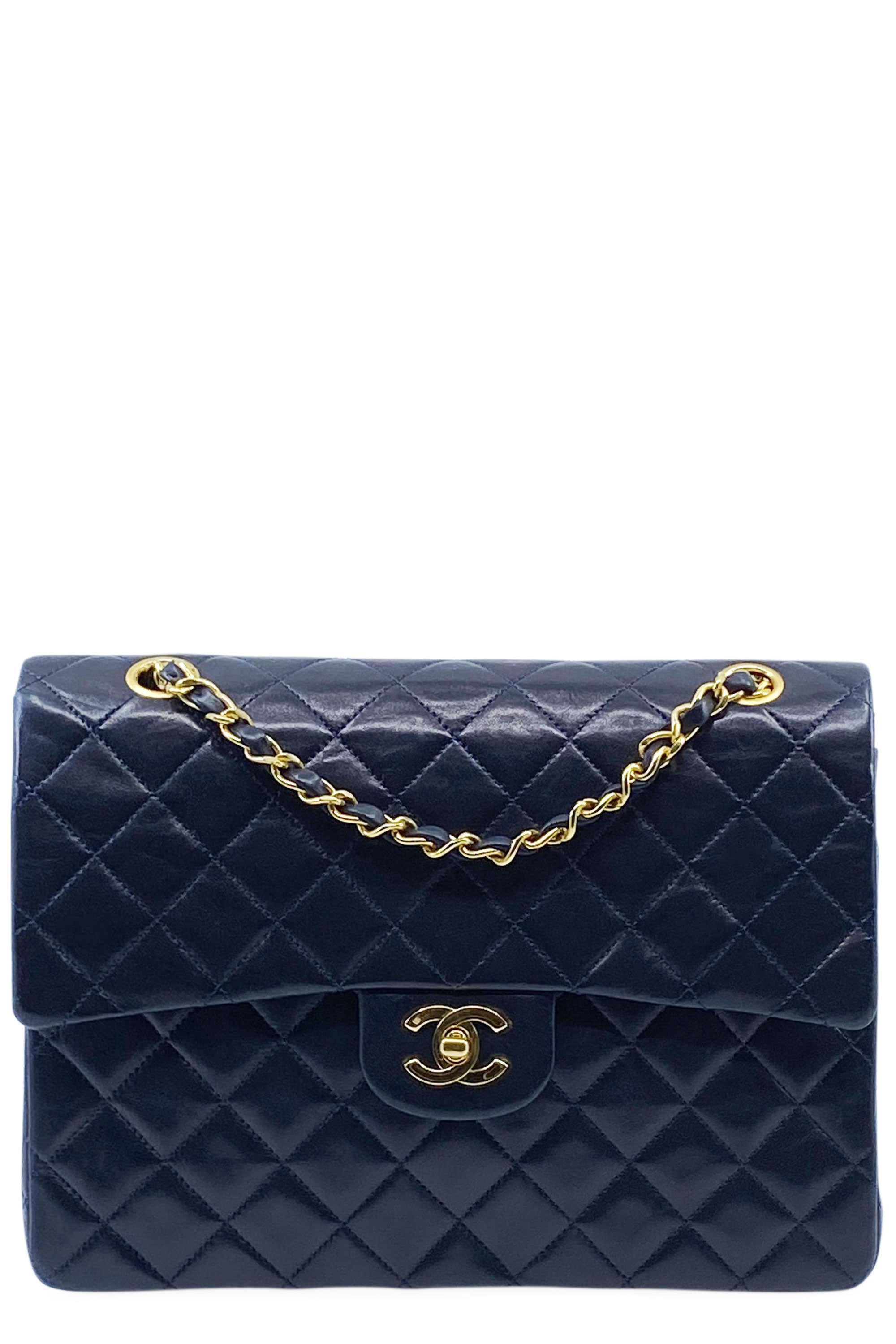 CHANEL Vintage Double Flap Bag Nightblue Square Frontansicht